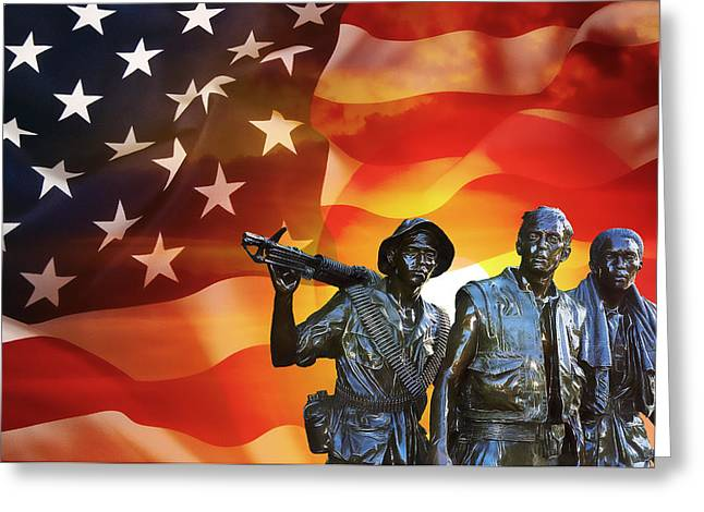 Battle Veterans Of The United States Greeting Card by Daniel Hagerman