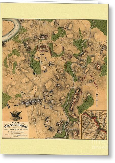 Battlefield Of Antietam Map Greeting Card by Maciek Froncisz