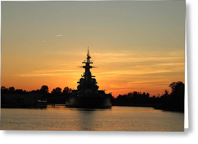 Greeting Card featuring the photograph Battleship At Sunset by Cynthia Guinn