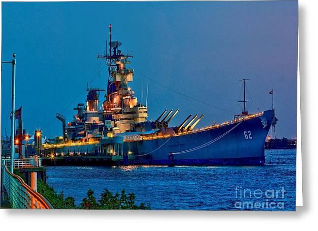 Battleship New Jersey At Night Greeting Card