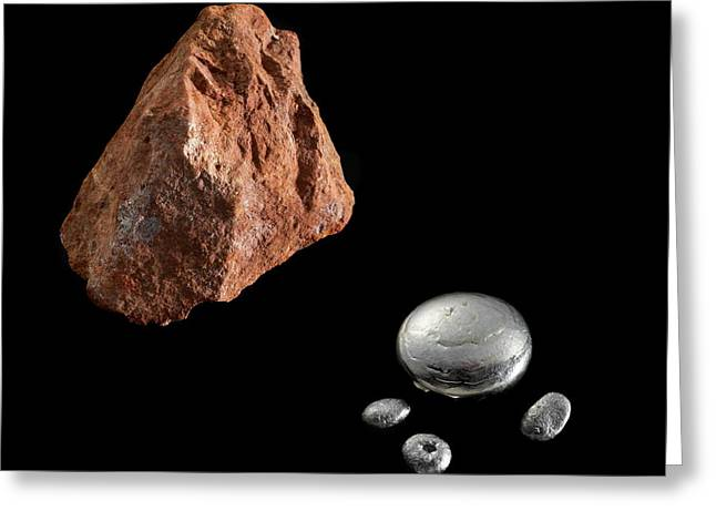 Bauxite And Aluminium Greeting Card by Science Photo Library
