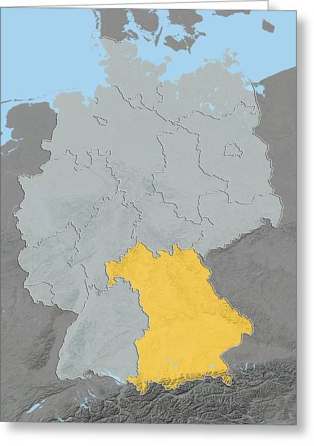 Bavaria, Germany, Relief Map Greeting Card by Science Photo Library