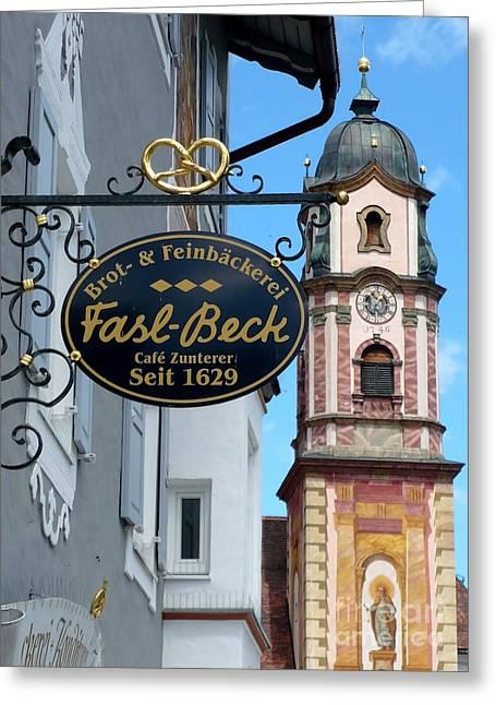 Bavarian Bakery Sign  Greeting Card by Carol Groenen