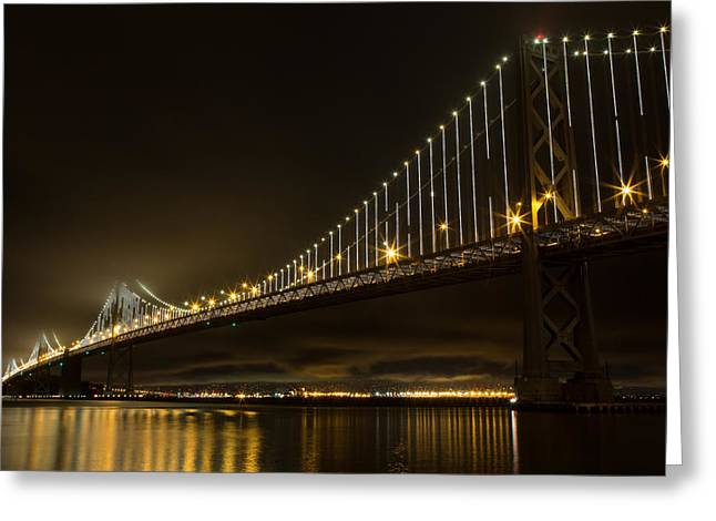 Bay Bridge And Fog  Greeting Card by John Daly