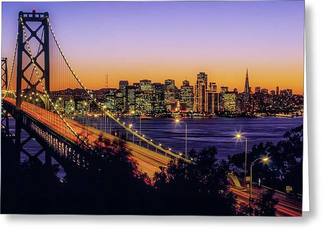 Bay Bridge At Dusk, San Francisco Greeting Card