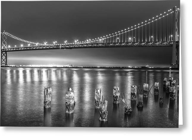 Bay Bridge Black And White Greeting Card