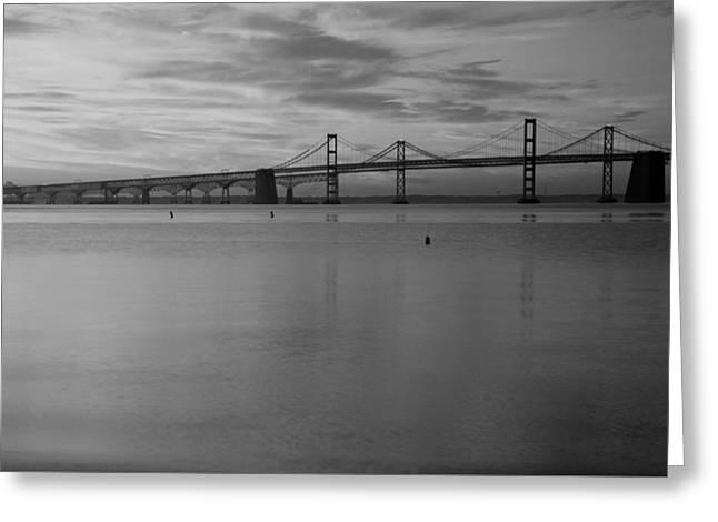 Bay Bridge Bw Greeting Card by Carolyn Stagger Cokley