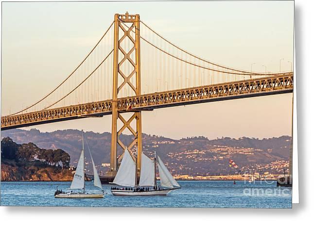 Bay Bridge Gold Greeting Card by Kate Brown