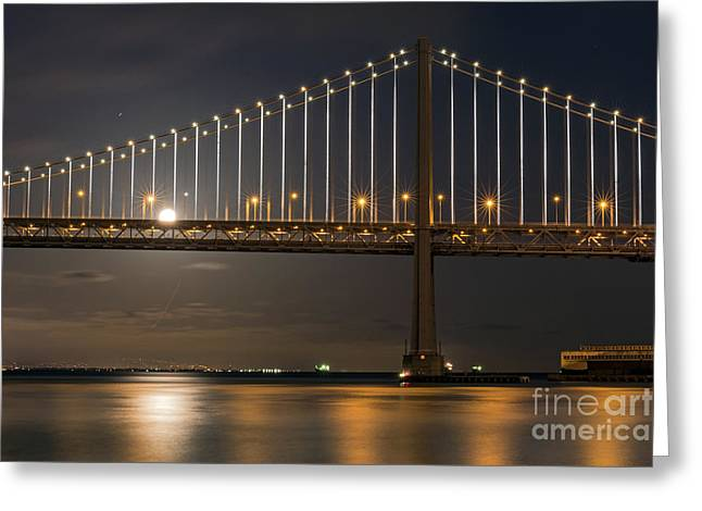 Bay Bridge Moon Rising Greeting Card