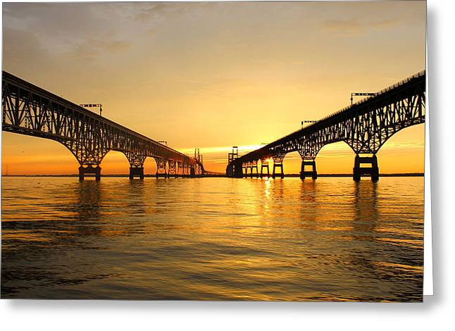 Bay Bridge Sunset Greeting Card by Jennifer Casey