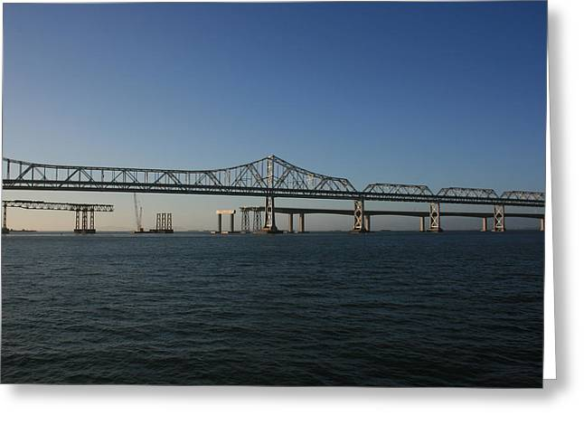 Greeting Card featuring the photograph Bay Bridge Under Blue Skies by Cynthia Marcopulos