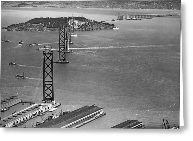 Bay Bridge Under Construction Greeting Card by Charles Hiller