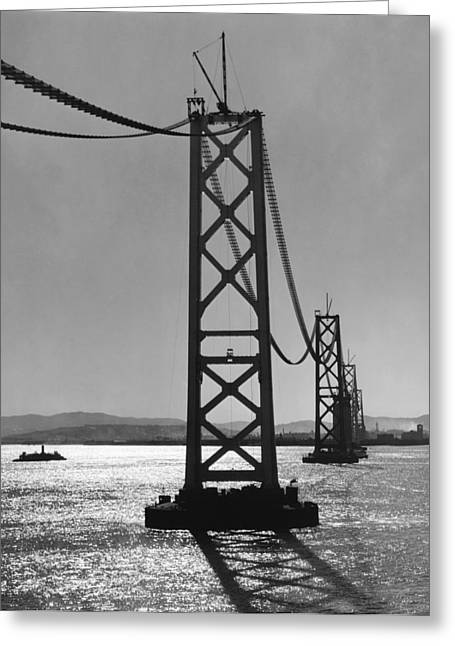 Bay Bridge Under Construction Greeting Card by Ray Hassman