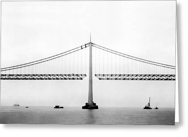 Bay Bridge Under Construction Greeting Card by Underwood Archives