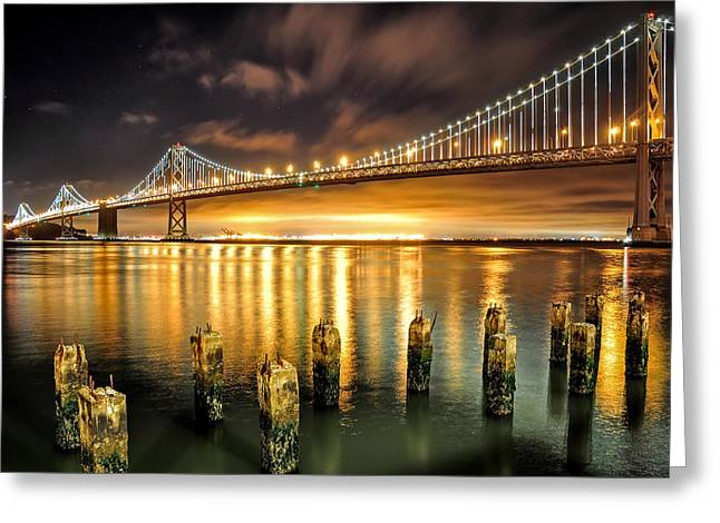Bay Lights And Decaying Pylons Greeting Card