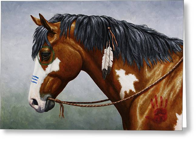 Bay Native American War Horse Greeting Card by Crista Forest