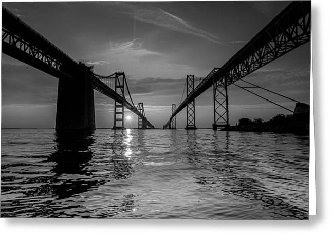 Greeting Card featuring the photograph Bay Bridge Strength by Jennifer Casey