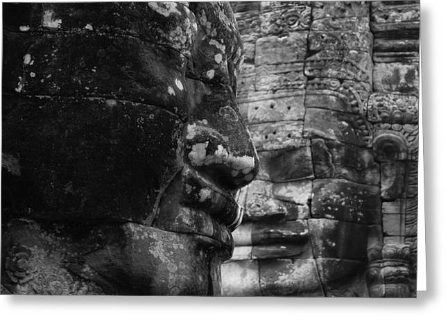 Bayon Faces Greeting Card by Lauren Rathvon