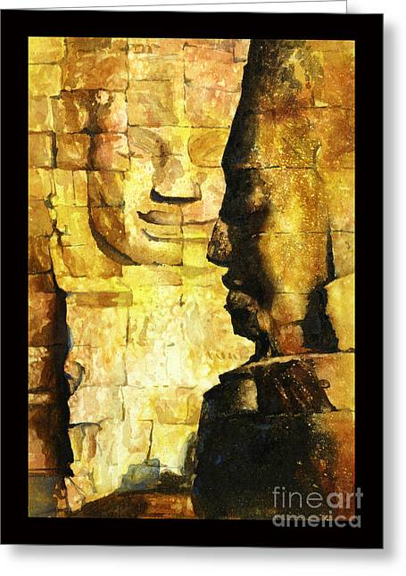 Bayon Khmer Temple At Angkor Wat Cambodia Greeting Card