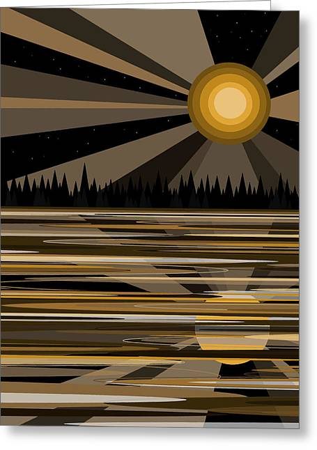 Bayou Moonshine - Moon Light Greeting Card by Val Arie