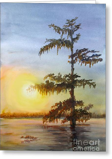 Bayou Sundown Louisiana Greeting Card by Mohamed Hirji