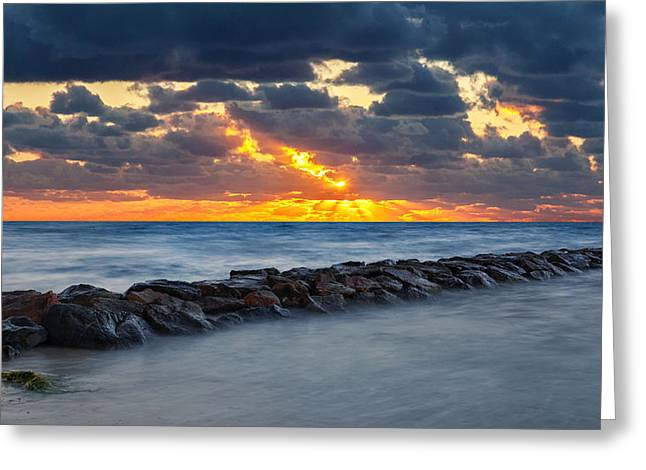 Bayside Sunset Greeting Card by Bill Wakeley