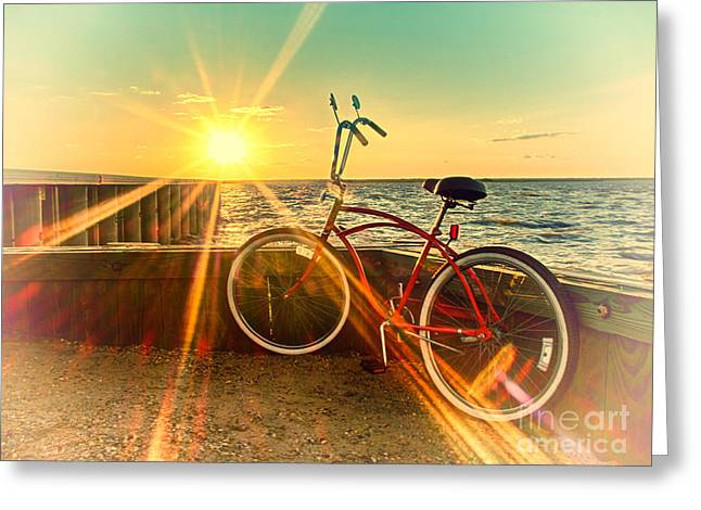 Bayside Sunset Greeting Card by Mark Miller