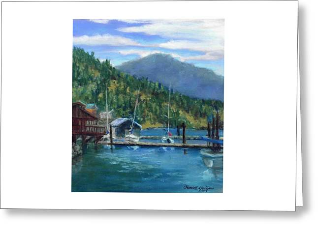 Bayview Marina Greeting Card by Harriett Masterson