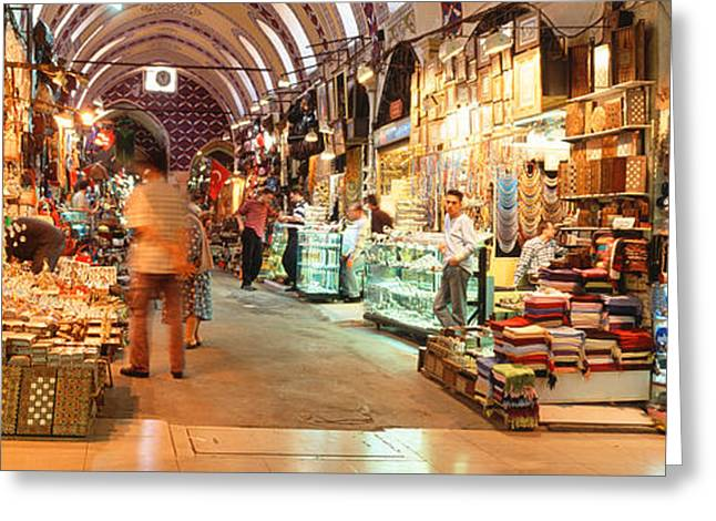 Bazaar, Istanbul, Turkey Greeting Card by Panoramic Images