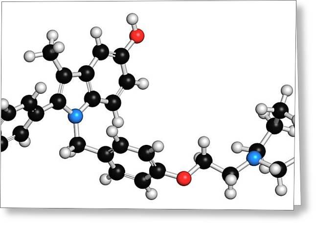 Bazedoxifene Osteoporosis Drug Molecule Greeting Card