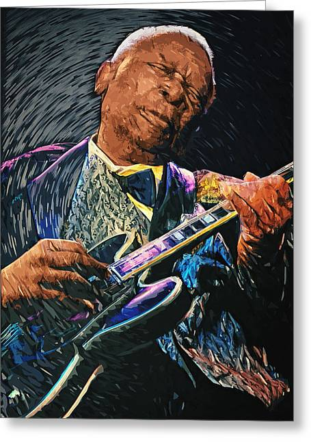 B.b. King Greeting Card by Taylan Apukovska