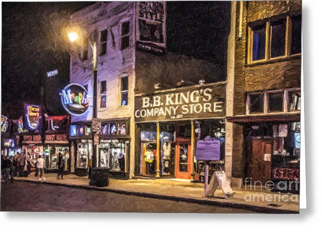 Bb Kings On Beale Street Greeting Card by Liz Leyden