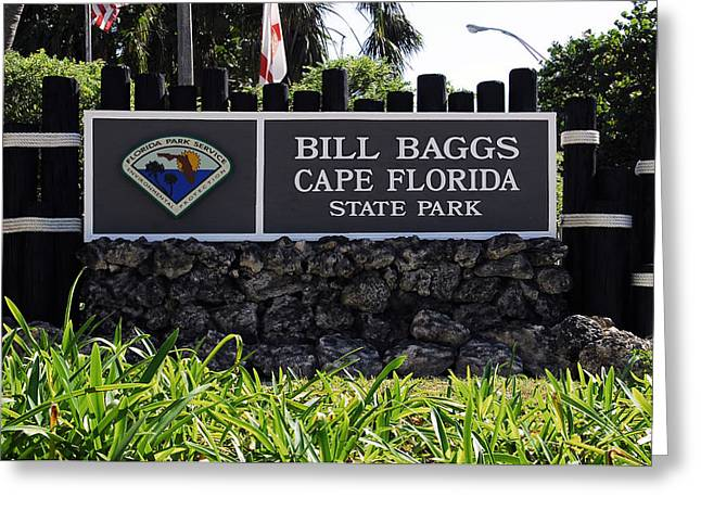 Bill Baggs State Park Florida Entrance Sign Greeting Card by David Lee Thompson