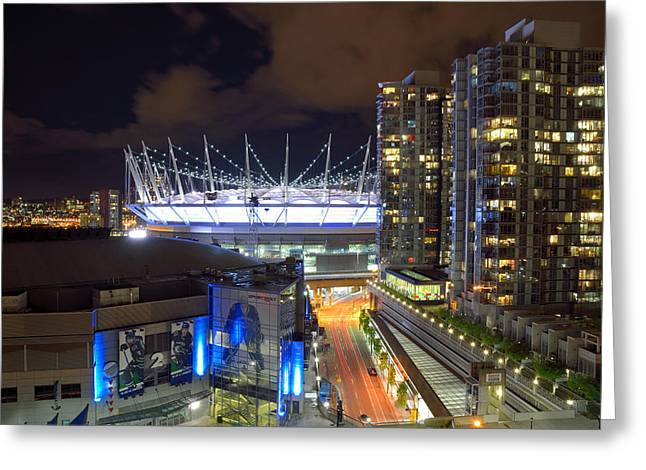Greeting Card featuring the photograph Bc Place  by Kathy King