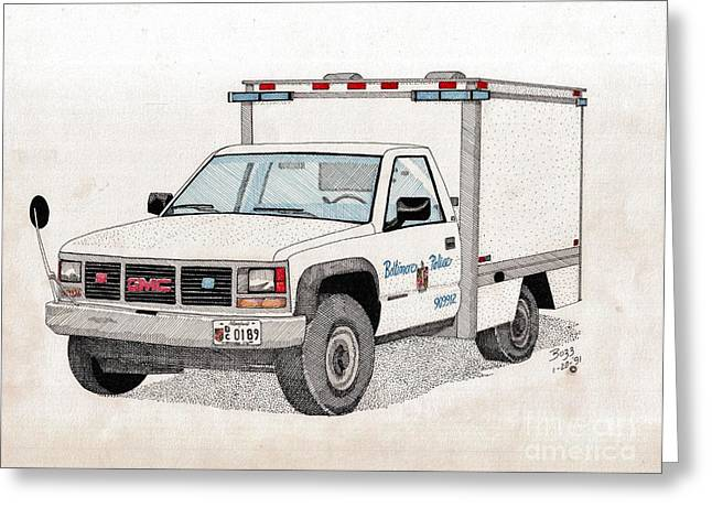 Bcpd Cruising Patrol Greeting Card by Calvert Koerber