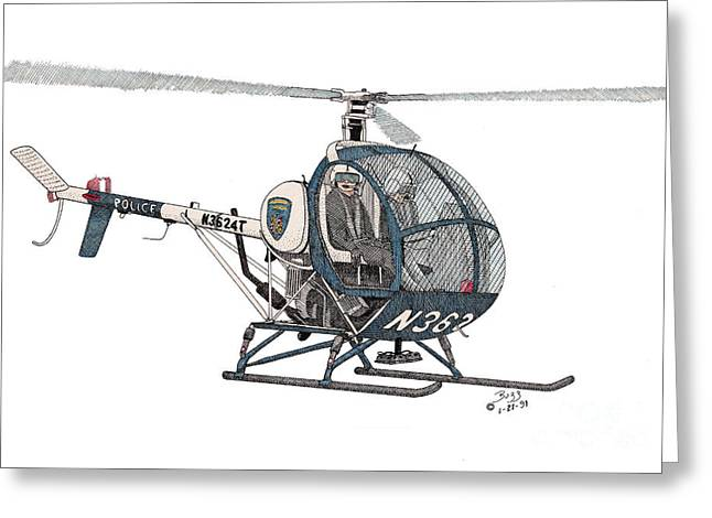 Bcpd Helicopter Greeting Card by Calvert Koerber