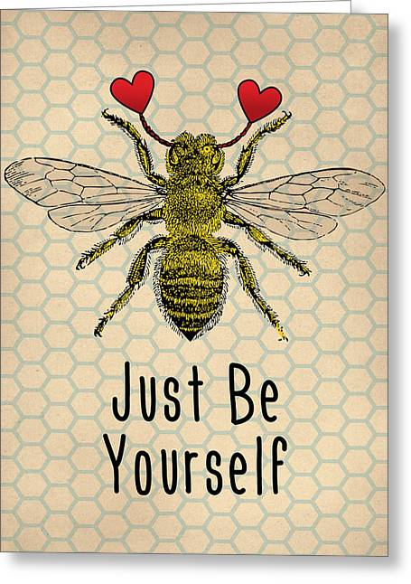 Be Yourself Cute Quotation Greeting Card by Flo Karp