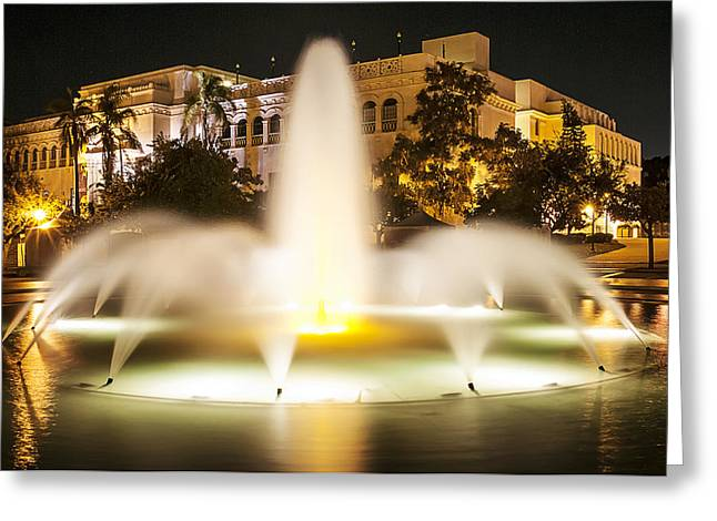 Bea Evenson Fountain At Night Greeting Card