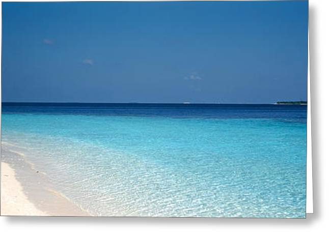 Beach & Boat Scene The Maldives Greeting Card by Panoramic Images