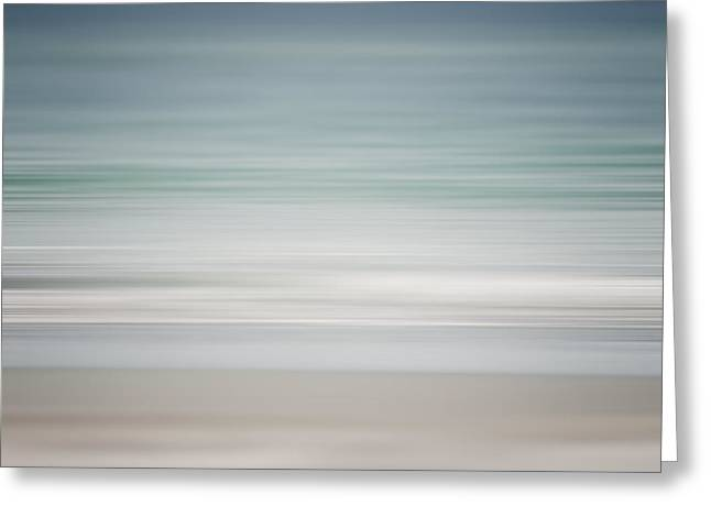 Beach Abstract In Shades Of Pale Blue And Grey Greeting Card by Lisa Russo