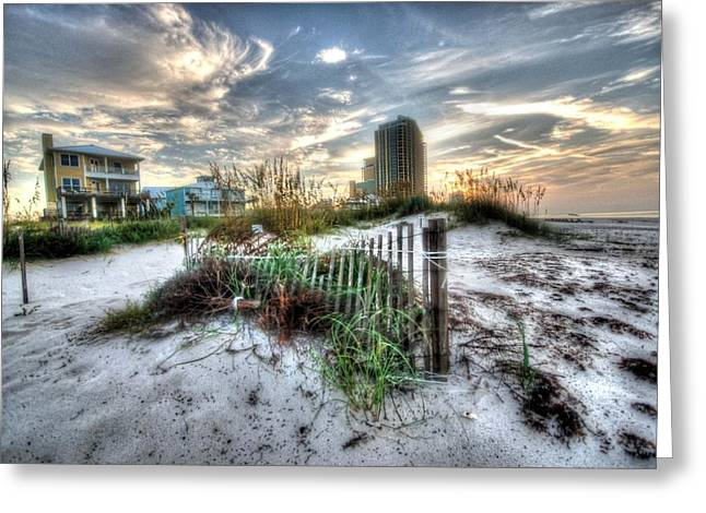 Beach And Buildings Greeting Card by Michael Thomas
