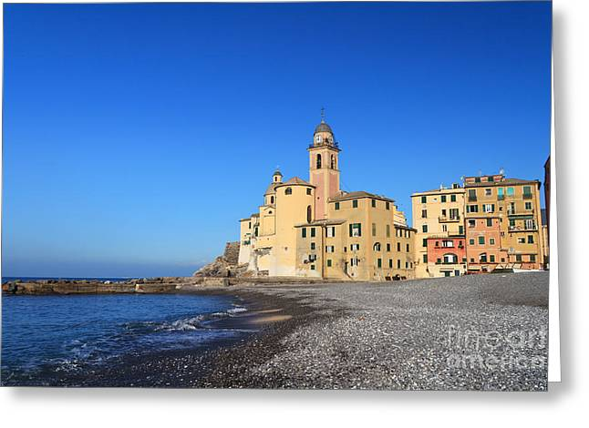 Greeting Card featuring the photograph beach and church in Camogli by Antonio Scarpi