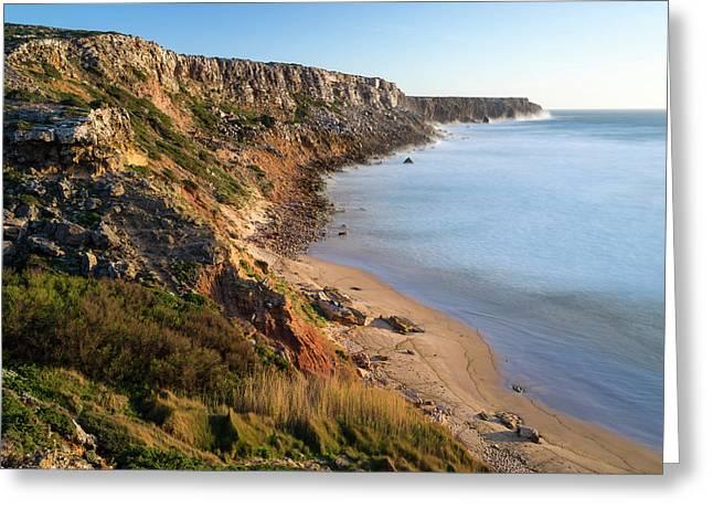 Beach And Cliffs At Praia Do Telheiro Greeting Card