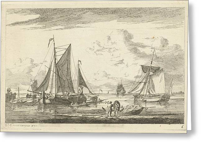 Beach And Sea With Several Boats, Gerrit Groenewegen Greeting Card