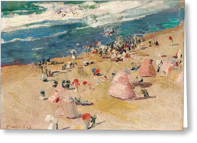 Beach At Biarritz Greeting Card by Joaquin Sorolla y Bastida
