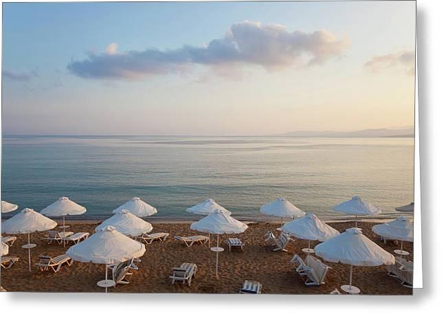 Beach At Pefkos, Near Lindos, Lardos Greeting Card by Peter Adams