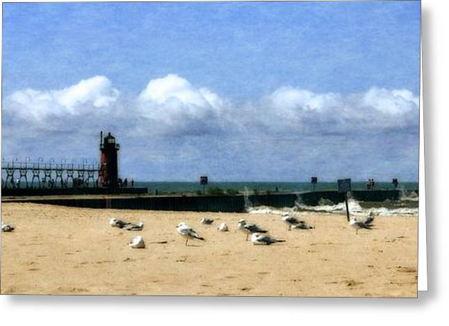 Beach At South Haven  Greeting Card by Michelle Calkins
