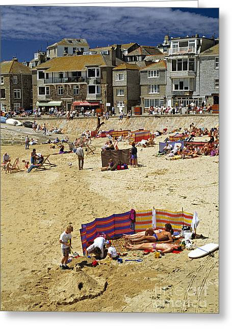 Beach At St Ives Cornwall Uk 1990 Greeting Card by David Davies