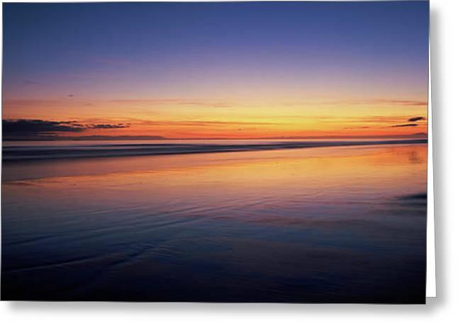 Beach At Sunrise, Papamoa Beach, Bay Greeting Card