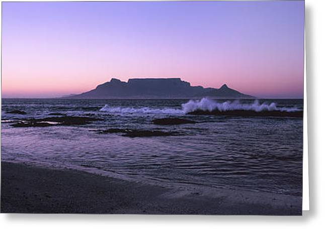 Beach At Sunset, Blouberg Beach, Cape Greeting Card by Panoramic Images